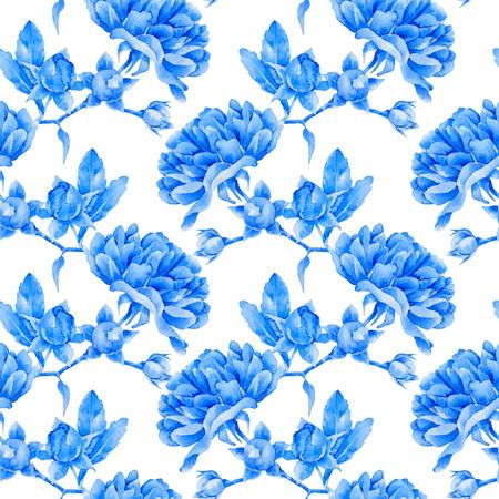 Bloemenpatroon. Vector naadloze achtergrond. Blauwe rozen
