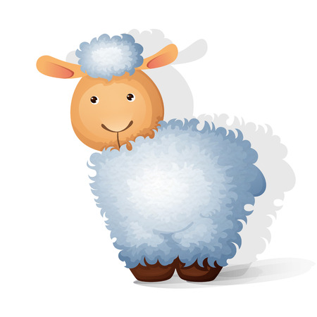 kinky: Cute little curly sheep on white background. Vector illustration