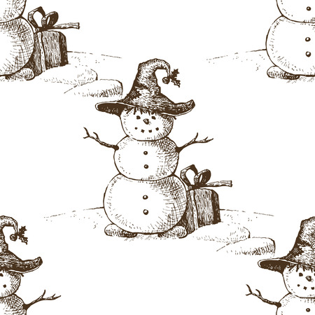 Snowman in hat with gift. Sketch drawing. Seamless pattern. Vector illustration Vector