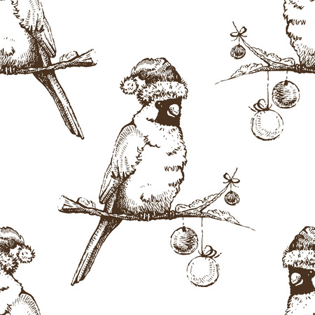 Red cardinal bird in Christmas cap. Vector seamless pattern Vector