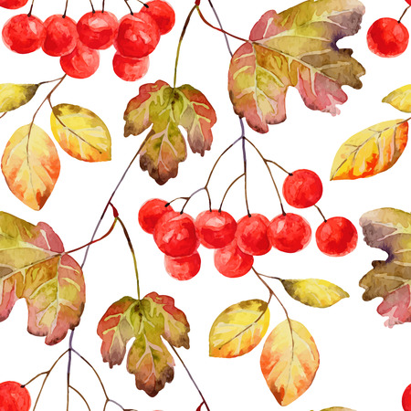 guelder rose berry: Bright autumn seamless pattern with gold leaves and berries of viburnum. Vector illustration