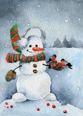 christmas watercolor: Christmas card