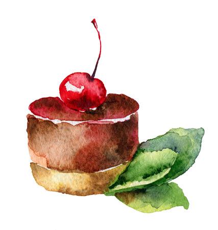 Cake with cherry photo