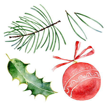 Set of bright christmas elements. Watercolor illustrations