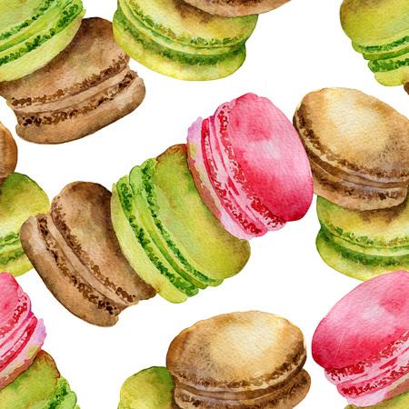 galleta de chocolate: Seamless patrón de colores brillantes pasteles franceses macarrones. Ilustración de la acuarela