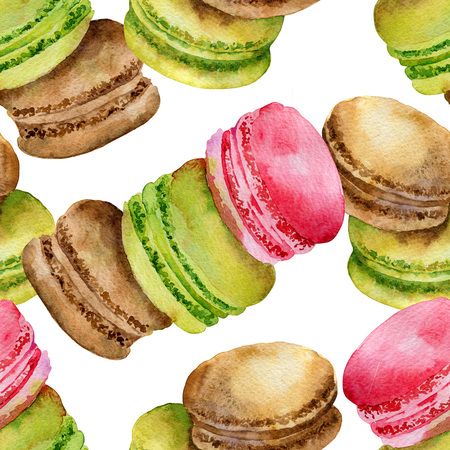 chocolate cookie: Seamless pattern of bright colored French pastries macaroon. Watercolor illustration Stock Photo