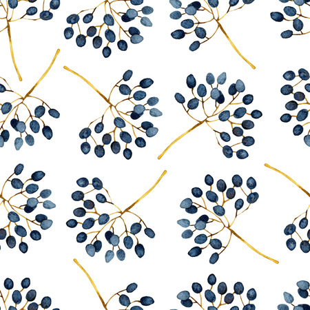 twigs: Floral abstract seamless pattern with twigs. Watercolor illustration Stock Photo
