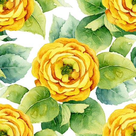 macro: Floral pattern. Watercolor seamless background. Yellow ranunculus Stock Photo