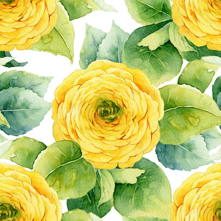 macro: Floral pattern. Watercolor seamless background. Yellow ranunculus Stock Photo