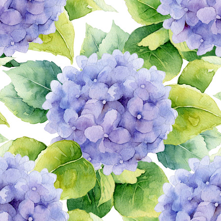 Floral pattern. Watercolor seamless background. Violet hydrangea