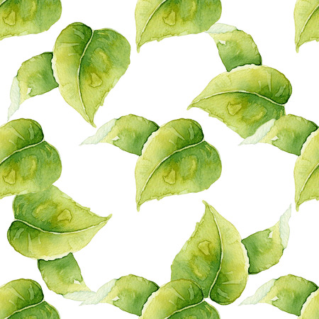ecological: Seamless background with green leaves. Watercolor illustration