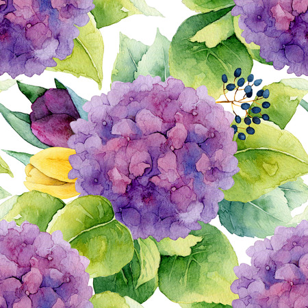 花柄。水彩のシームレスな背景。紫のアジサイとチューリップ