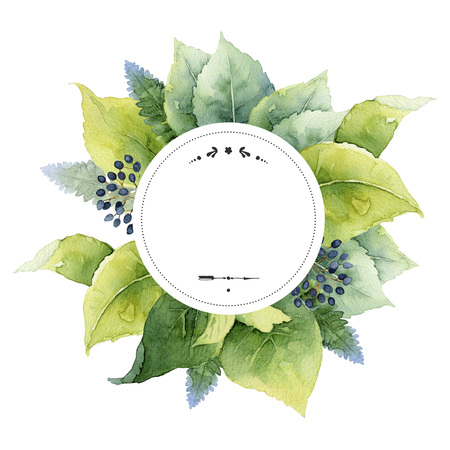 Round template with green leaves and place for text. Watercolor illustration