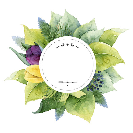 purple wreath: Round template with green leaves, tulips and place for text. Watercolor illustration Stock Photo