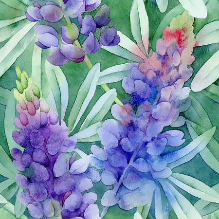 Floral pattern. Watercolor seamless background. Violet lupines on green background Standard-Bild
