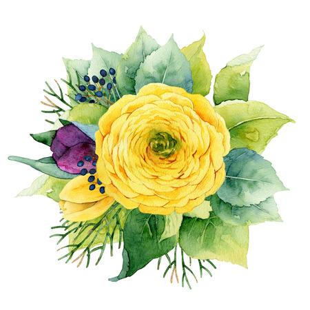Cercle lumineux composition florale avec renoncules et tulipes. illustration d'aquarelle Banque d'images - 45837534