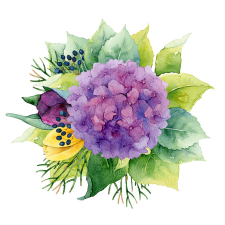 in bloom: Bright circle floral composition with hydrangea and tulips. Watercolor illustration