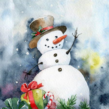 Bright Christmas card. Cheerful snowman. Watercolor illustrations Banco de Imagens