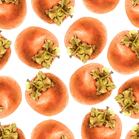 persimmon: Seamless pattern with ripe persimmon. Watercolor illustration