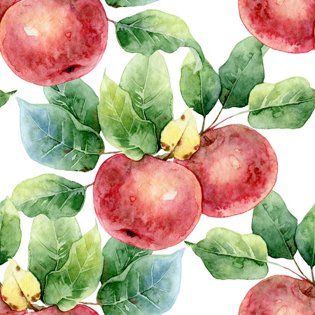 Seamless pattern of red apples with leaves. Watercolor illustration Banco de Imagens