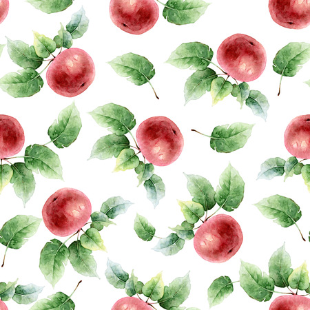 Seamless pattern of red apples with leaves. Watercolor illustration Stock Photo