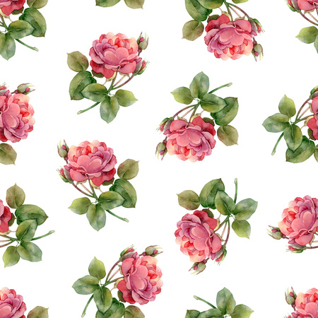 Seamless floral pattern with bright pink roses. Watercolor illustration