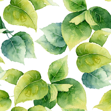 Seamless pattern with bright green leaves. Watercolor illustration