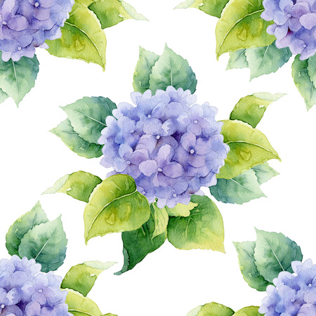 Seamless pattern with violet hydrangeas. Watercolor illustration