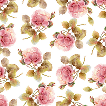 Seamless floral pattern with gentle pink roses. Watercolor illustration