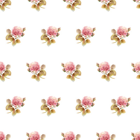 pink floral: Seamless floral pattern with gentle pink roses. Watercolor illustration