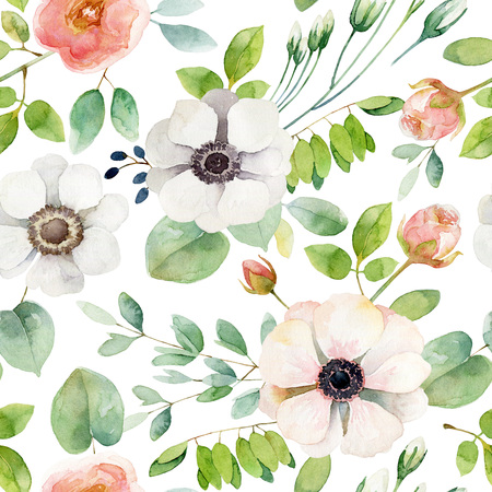 Seamless floral pattern with anemones and rose. Watercolor illustration Stock Illustration - 57501391