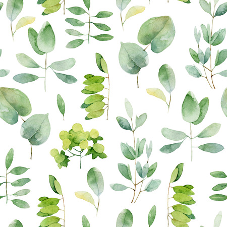 Seamless herbal pattern with leaves. Watercolor illustration Stock Photo