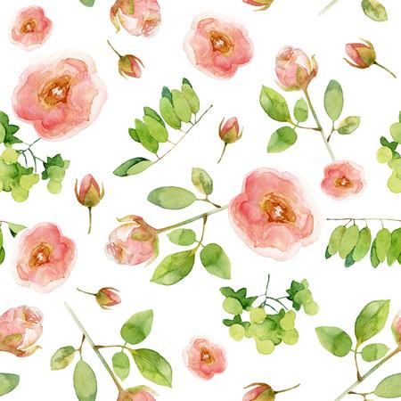 Motivo floreale senza soluzione di continuità con le rose. illustrazione dell'acquerello Archivio Fotografico - 57501136