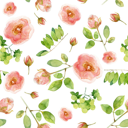 Seamless floral pattern with roses. Watercolor illustration
