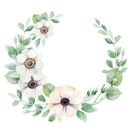 eucalyptus: Round composition with white and pink anemones isolated on white background. Watercolor illustration