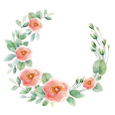 Round composition with pink roses isolated on white background. Watercolor illustration Banco de Imagens