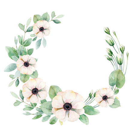 anemone: Round composition with pink anemones isolated on white background. Watercolor illustration