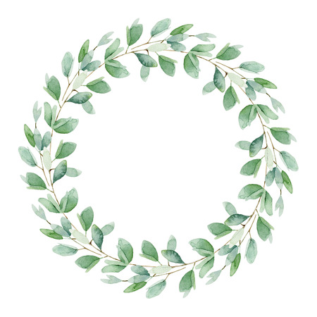 Round composition with leaves isolated on white background. Watercolor illustration