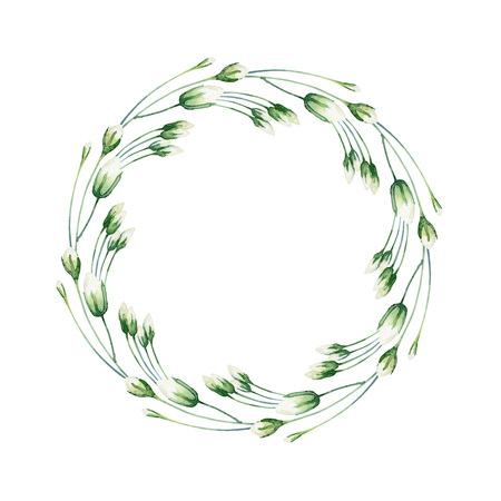 rosebud: Round composition with white rosebud isolated on white background. Watercolor illustration Stock Photo