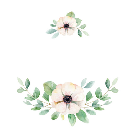 pastel: Floral composition with anemone and leaves. Watercolor illustration