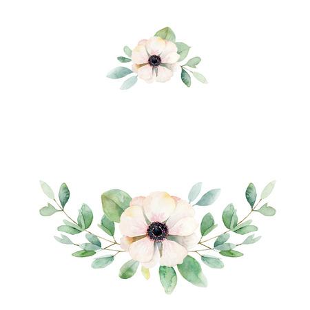 Kwiatowa kompozycja z zawilec i liści. Ilustracja akwarela