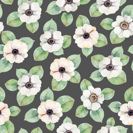 gray anemone: Seamless floral pattern with anemones. Watercolor illustration
