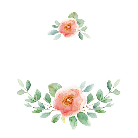 Floral composition with rose and leaves. Watercolor illustration