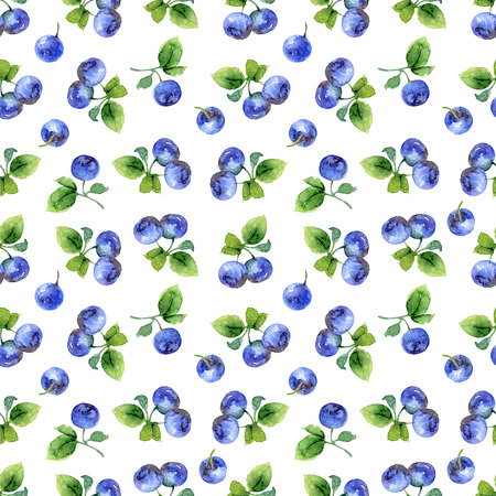 bilberry: Seamless pattern with berries and leaves of bilberry. Watercolor illustration