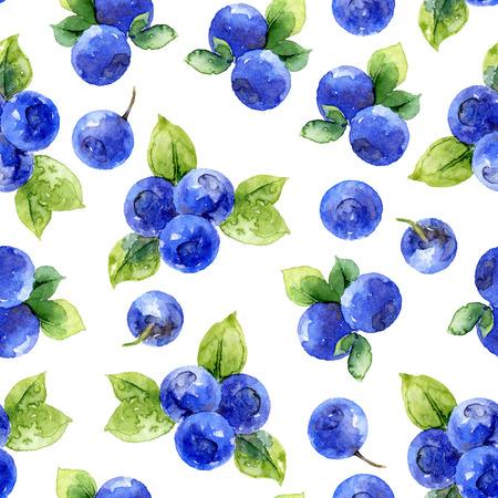 ベリーとブルーベリーの葉のシームレスなパターン。水彩イラスト