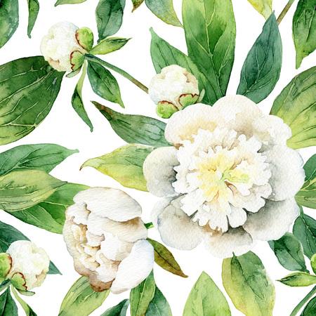 Naadloos patroon met witte pioenrozen en groene bladeren. illustratie van de waterverf