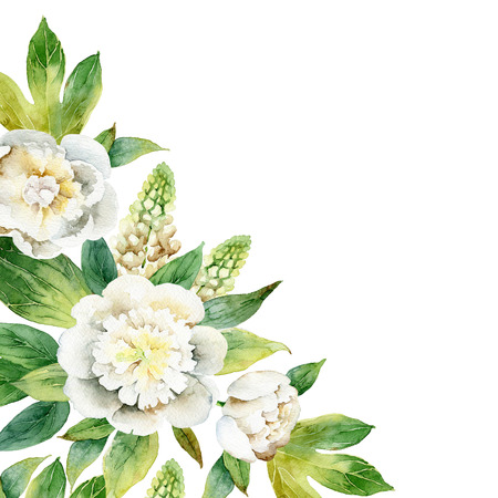 lupine: Watercolor floral corner composition with white peonies and lupine Stock Photo