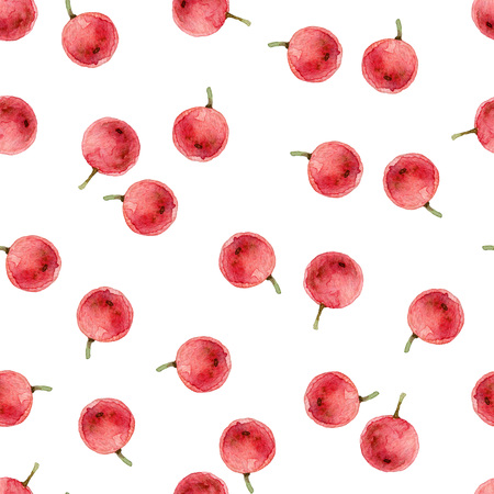 ilex: Simple watercolor seamless pattern with red holly berries