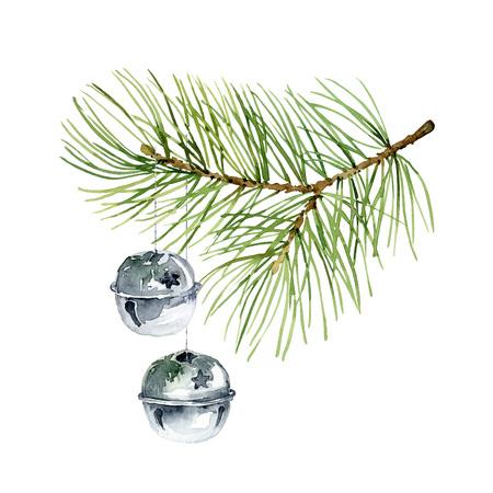 Composizione di Natale di filiali di abete e palle. Illustrazione di acquerello Archivio Fotografico - 64201015