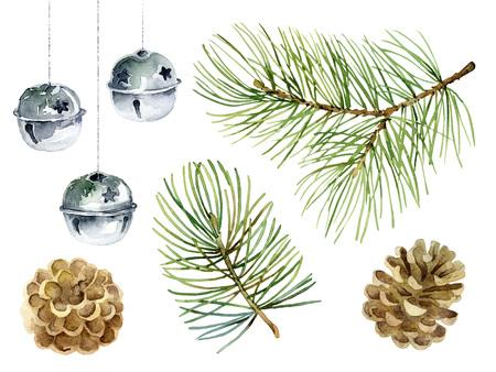 Ensemble de Noël d'éléments de conception avec des branches de sapin, des boules et des cônes. Illustration d'aquarelle